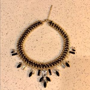 Baublebar Black & Gold Bib Necklace with Crystals